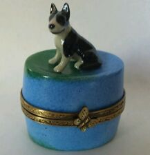 Limoges Hand Painted Porcelain Bull Terrier Dog Sitting on Blue Oval Trinket Box