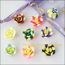 15Pcs Misti Polimero FIMO Clay Fiore Perline Colorate charms 12 mm