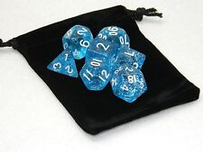 Wiz Dice 7 Die Polyhedral Set Diamond Dust Light Blue Sparkle With Dice Bag