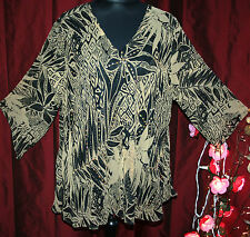 """QUIRKY 3XL tunic top 54"""" bust ASYMMETRIC lined sequins BEIGE & BLACK floral"""