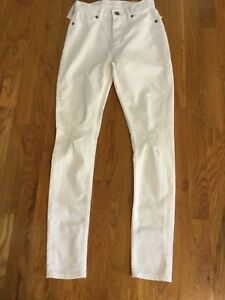 NWT $90 Cheap Monday Jeans High Spray On in White Repair Distressed 26 - 27