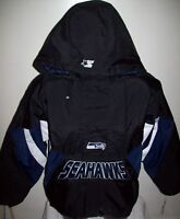 SEATTLE SEAHAWKS Starter Hooded Half Zip Jacket S M L XL 2X BLACK w BLUE
