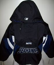 SEATTLE SEAHAWKS Starter Hooded Half Zip Jacket S M L XL 2X BLACK w BLUE