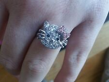 Hello Kitty Diamantie Adjustable Ring Older Girl Teen /Ladies.Pink Bow.UK seller
