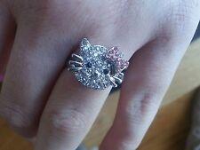 Hello Kitty diamantie réglable bague ancienne fille ado/femme. Noeud rose. Vendeur Britannique