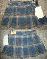 BONGO Plaid Teal Hipster Pleated School Girl Corduroy Boho Casual Mini Skirt 1