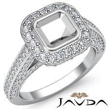 Halo Pre-Set F-G Diamond Engagement Asscher Semi Mount Ring 1.25Ct Platinum 950