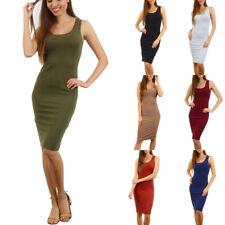 Womens Sleeveless Scoop Neck Dress Midi Bodycon Cotton Spandex Pencil Tank Knee
