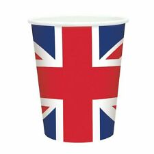 8pk Great Britain Flag Paper Cups 266ml Union Jack Party Tableware