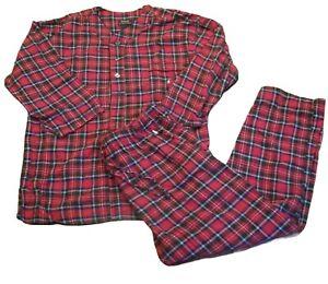 Men's Polo Ralph Lauren Sleepwear Red Plaid Pajamas Pants Shirt 2 Piece Set XL