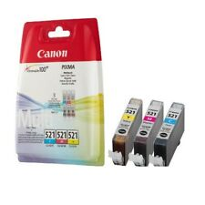 Canon CLI-521 CMY Ink Cartridges Tri Colour Pack Genuine Sealed Multipack