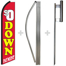 $0 Down Payment 15' Tall Swooper Flag & Pole Kit Feather Super Bow Banner