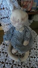 Vintage Hand Crafted Stuffed Muslin Cat Tea Dyed 19 inches Tall Blue Dress