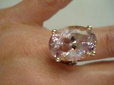Vtg Fancy Gift~Certified 80's 14K Gold Diamond Huge 20ct Morganite Ring~Free SH