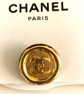 CHANELvintage metal shank style gold Button 27mm