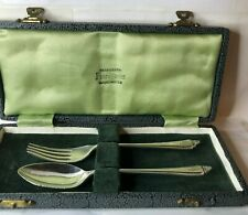 Vintage Silver Christening Fork and spoon set Boxed 1950 Sheffield hallmark 36g