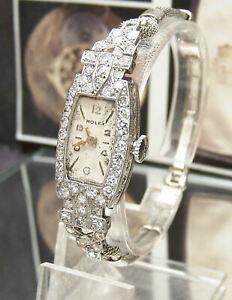 SWISS ANTIQUE VINTAGE C40'S PLATINUM & DIAMOND ROLEX MOVEMENT WATCH + GOLD BAND