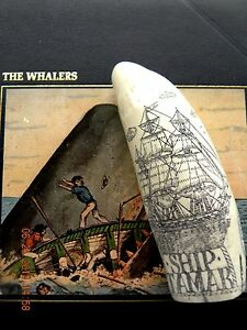 "Scrimshaw Sperm whale tooth resin REPRODUCTION ship  ""TAMAR"" 6&1/2 INCHES LONG"