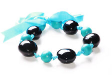 Charming- Black Stone & Turquoise Blue Beads/Blue Ribbon Tie Necklace(Zx301)