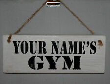 Personalised Gym Sign Name Fun Door Plaque Rustic Wood Decor Gift Man Cave Shed Gym 4 Corner Holes
