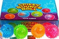 SET OF 12 LIGHT UP SPIKEY BOUNCE BALLS SQUEAKY PARTY TOYS BAG FILLERS - BULK BUY