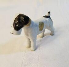 Dog - Schnauzer - bone china miniature ceramic animal  black beige & white 1010