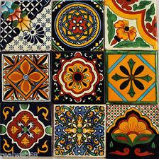 "W140 - 9  Mexican Talavera Tiles Ceramic Folk Art Wall Mosaic 4"""