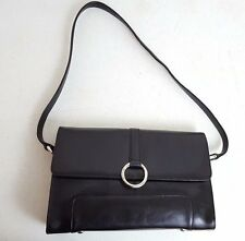 Oroton Black Leather Handbag Shoulder Bag Purse Style EV206