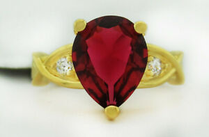 RED AAA 2.08 Cts RUBY & WHITE SAPPHIRES RING SILVER 14kGOLD PLATED NWT size 5