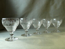 5 Stuart Crystal Wheel Etched Grapevine Port Wine Glasses, Signed, Art Deco