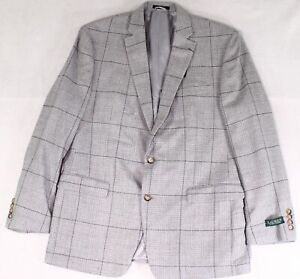 Lauren by Ralph Lauren Mens Blazer Gray Size 44 Long Wool Windowpane $376 #030