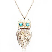 Women Stylish Gold Leaves Owl Style Charm Pendant Necklace Long Chain YS
