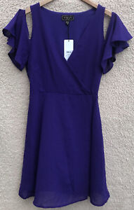 Bnwt New Lipsy Purple Chiffon Dress Size 8 Prom Dress Party