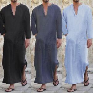 US STOCK Men's Muslim Clothing Long Sleeve Arab Ialamic Abaya Kaftan Long Robe