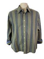 Robert Graham Mens M Green Blue Striped Button Up Shirt Long Sleeve Flip Cuff