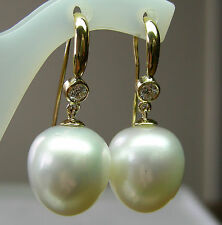 15.7mm!! SOUTH SEA PEARLS UNTREATED +DIAMONDS +18ct SOLID Y GOLD EARRINGS +CERT