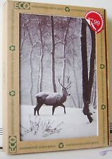 16 CT PK HOLIDAY CARDS Green ENVELOPES ECO Recycled 1 Design DEER SNOW Trees