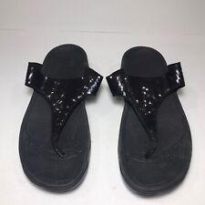 Womens Fitflops Size 7 Black Shimmer Sandal Flipflop