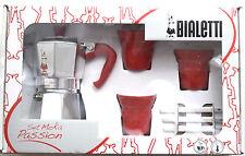 Set REGALO ROSSO Passio BIALETTI MOKA EXPRESS 3 TAZZE STOVE Top COFFEE ESPRESSO MAKER