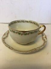 Antique Limoges Haviland Clover Leaf Cup and saucer Schleiger 98