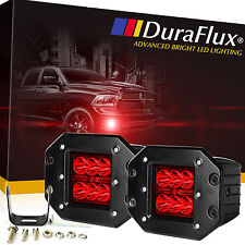 DuraFlux 60W CREE LED Red Pod Fog Lights Dually Flush Mount For Truck Jeep ATV