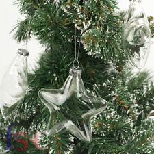 12Pcs 8cm Clear Star Glass Bauble Christmas Tree Ornaments Wedding Decor Gift