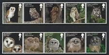 GREAT BRITAIN 2018 OWLS SET OF 10 IN TWO STRIPS UNMOUNTED MINT,MNH