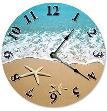 STARFISH AT SHORELINE Beach CLOCK Large 10.5 inch Wall Clock, SHELLS SAND - 2107