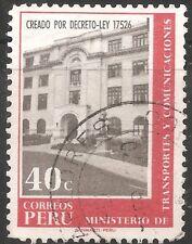 """Peru Stamp - Scott #527/A206 40c Orange & Gray """"Min of Trans & Com"""" Canc/LH 1970"""