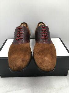 Cole Haan Saddle Oxford Embossed Alligator Suede Dress Shoes C09581 Mens Sz 12 M