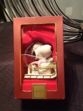 Lenox Peanuts Snoopy's Sledding Adventure Christmas Ornament Figurine used