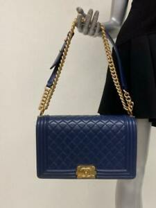 Chanel New Medium Boy Bag Navy Quilted Calfskin Leather Gold Hardware Crossbody