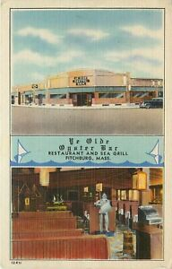 Linen Postcard Split View Ye Olde Oyster Bar Seafood Restaurant Fitchburg MA