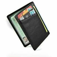 Genuine Leather Mens Business Flap Credit Card ID Holder Slim Soft Bifold Wallet